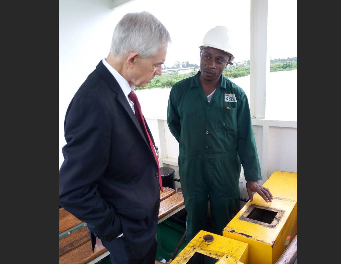 Consultant Bill Fox inspecting Mv Sssese works